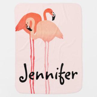 Rosa Flamingo-Strand-Hochzeit Baby-Decke