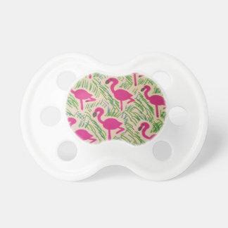 Rosa Flamingo-tropisches Muster Schnuller