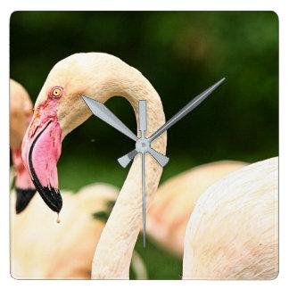Rosa Flamingo-Uhr! Quadratische Wanduhr
