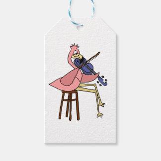 Rosa Flamingo-Vogel, der Violine spielt Geschenkanhänger