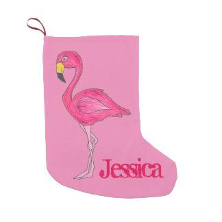 Rosa Flamingo-Vogel-personalisierter Kleiner Weihnachtsstrumpf