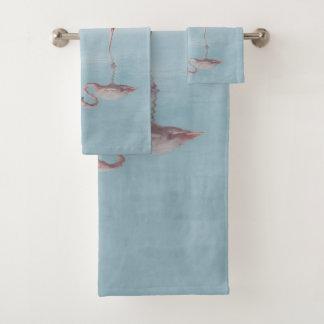 Rosa Flamingos im Liebe-Badezimmer-Tuch-Set Badhandtuch Set