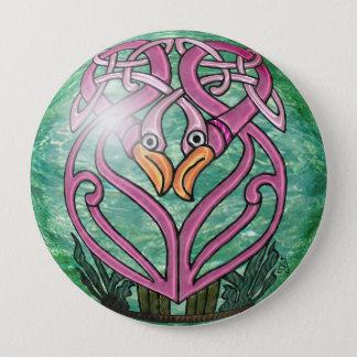 Rosa Flamingos in einem keltischen Knoten Runder Button 10,2 Cm