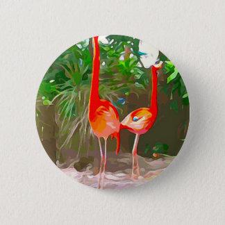 Rosa Flamingos in Key West Runder Button 5,7 Cm