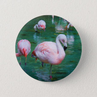 Rosa Flamingos Runder Button 5,1 Cm