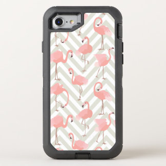 Rosa Flamingos und Sparren-Muster OtterBox Defender iPhone 8/7 Hülle