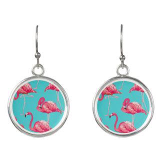 Rosa Flamingovögel auf Türkishintergrund Ohrringe
