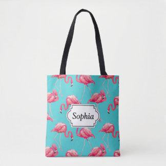 Rosa Flamingovögel auf Türkishintergrund Tasche