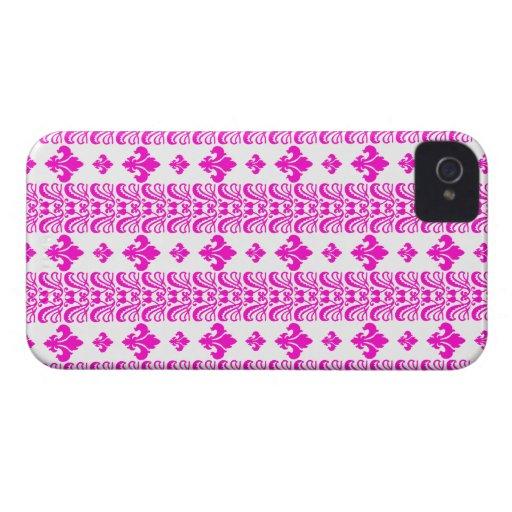 Rosa Fleur Streifen-1 iPhone 4 Etuis