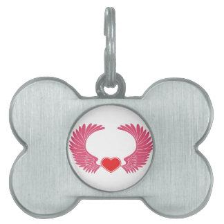 Rosa Flügel-Herz Tiermarke