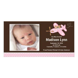 Rosa Flugzeug-Baby-Geburt Annoucement Photokartenvorlage