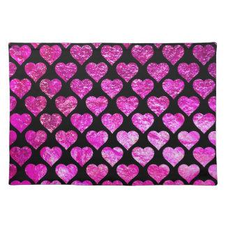 Rosa Folien-Herzen Stofftischset