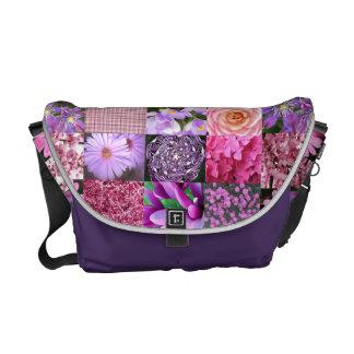 Rosa Foto-Collagen-Tasche Kurier Taschen