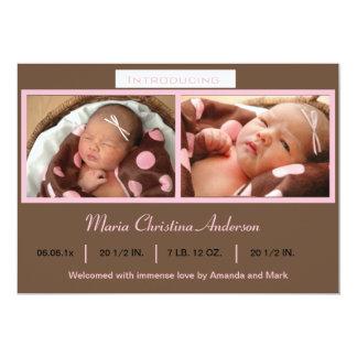 Rosa Foto-Geburts-Mitteilung 12,7 X 17,8 Cm Einladungskarte