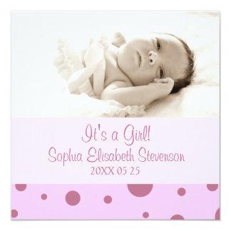 Rosa Foto-Schablonen-neue Baby-Geburts-Mitteilung Quadratische 13,3 Cm Einladungskarte