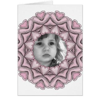 rosa Fotorahmen mit Herzen Karte