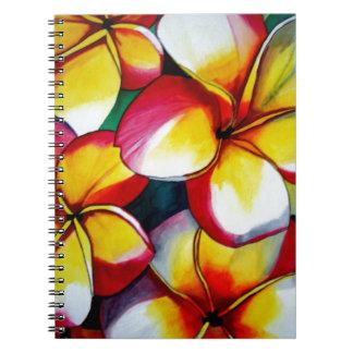 Rosa Frangipani-Blumennotizbuch Spiral Notizblock