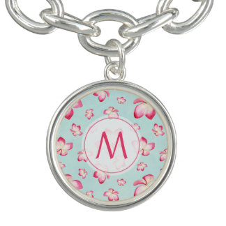 Rosa Frangipani-Monogramm-Aqua Charm Armband