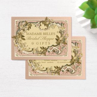 Rosa französische Vintage Rosen-BrautButike des Visitenkarte
