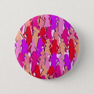 Rosa Frauen-Silhouette Runder Button 5,7 Cm