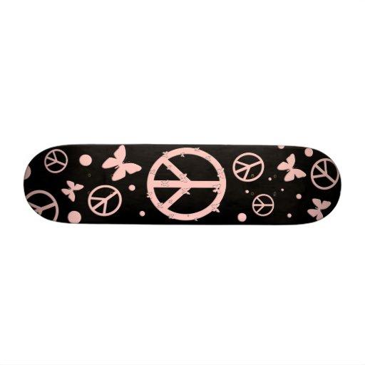 Rosa Frieden und Schmetterlinge 21,6 Cm Skateboard Deck
