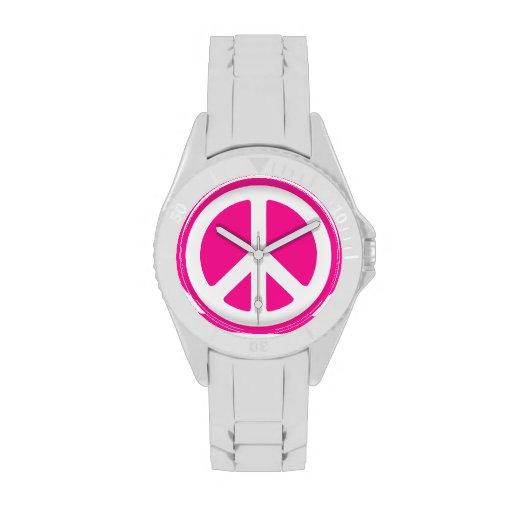 Rosa Friedenszeichen Uhren