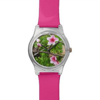 Rosa Frühjahr-Blüten, Damen-Pink-Uhr Armbanduhr