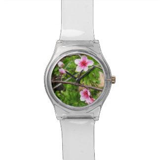 Rosa Frühjahr-Blüten, Damen-weiße Uhr
