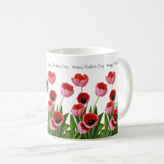 Rosa Frühlings-Tulpe-Blumenstrauß für den Tag der Kaffeetasse