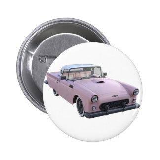 Rosa Fünfzigerjahre Sport-Auto Runder Button 5,7 Cm