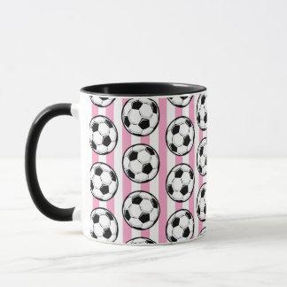 Rosa Fußball-Streifen Tasse