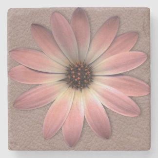 Rosa Gänseblümchen auf Taupe-Leder-Druck Steinuntersetzer