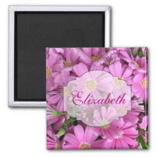 Rosa Gänseblümchen-individueller Name Quadratischer Magnet