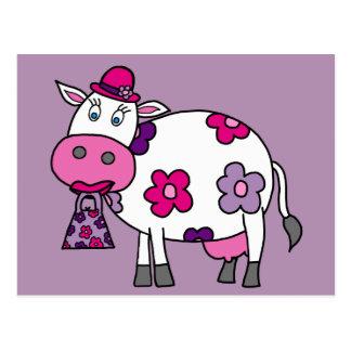 Rosa Gänseblümchen-Kuh Postkarte