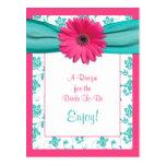 Rosa Gänseblümchen-Rezept-Karte, damit die Braut Postkarte