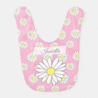 Rosa Gänseblümchen-Themed Babylätzchen