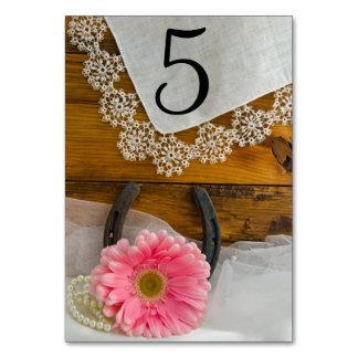 Rosa Gänseblümchen-und Spitze-Western-Wedding Karte