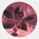 Rosa Garten-Pflanzen Runder Aufkleber