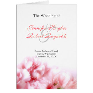 Rosa Gartennelken-Hochzeits-Programm-Gruß-Karte Grußkarte