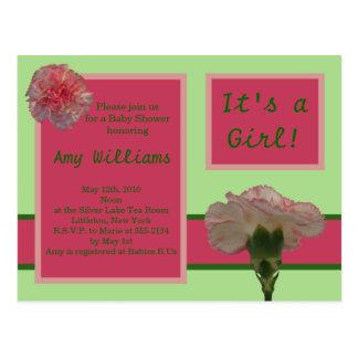 Rosa Gartennelken-Postkarten-Duschen-Einladung Postkarten
