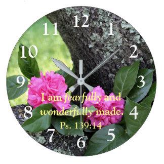 Rosa Gartennelken-Psalm-Wanduhr Große Wanduhr