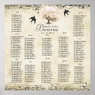 Rosa Gäste des Herz-Baums 100 bis 150 - Poster