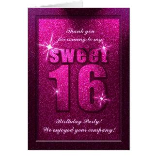 Rosa Geburtstag des Glitter-Bonbon-16 danken Ihnen Karte