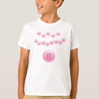 Rosa Geburtstags-Ball-Alter 8 T-Shirt
