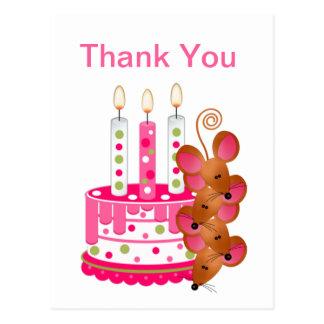 Rosa Geburtstags-Kuchen mit Kerzen Postkarte