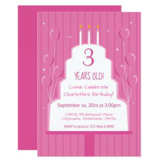Rosa Geburtstags-Kuchen und Einladung der Ballon- 