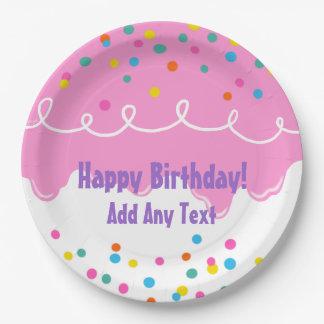Rosa Geburtstags-Kuchen-Zuckerguss Pappteller