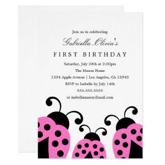 Rosa Geburtstags-Party Einladung der Marienkäfer- 