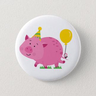 Rosa Geburtstags-Party-Schwein Runder Button 5,1 Cm