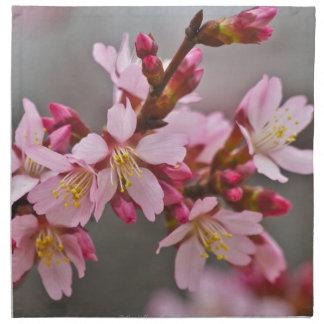 Rosa gegen grauer Himmel-japanische Kirschblüten Serviette